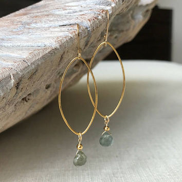 Aquamarine Earrings, Moss Aquamarine Earrings, Gold or Silver Moss Aquamarine Earrings, Aquamarine Hoop Earrings, Aquamarine Hoop