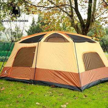 Large Camping Tent Double Layer Family Tent Waterproof Gazebo 6-8person Fishing Tent Awning 2 room 1 hall Sun shelter