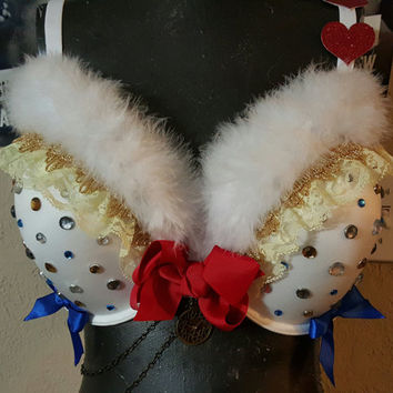 White rabbit from alice in wonderland inspired rave bra- white rabbit wonderland rave bra- alice in wonderland white rabbit festival top