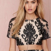 For Love and Lemons Ethereal Embroidered Crop Top