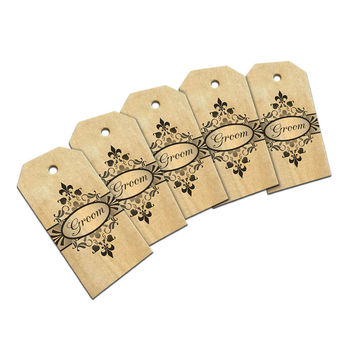 Groom on Floral Pattern Mr Man His Husband Wood Gift Tag Set