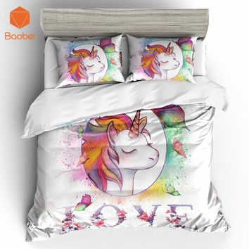 2/3Pcs 3D Cute  Cartoon LOVE Unicorn Bedding Set Pillowcases Duvet Cover Quilt Cover For Kids Queen King Sizes Bedspreads Sj234