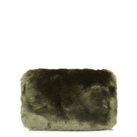 Faux Fur Make-up Bag - Khaki