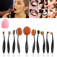 10Pcs Professional Black Soft Oval Toothbrush-shaped Curve Makeup Brush Set Kit Cosmetics Foundation Blending Blush Eyeliner Eyebrow Lip Face Powder Brush with Pink Glove Makeup Brush Cleaner