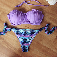Womens Vintage Coco Palm Tree Purple Bra Swimwear Bikini