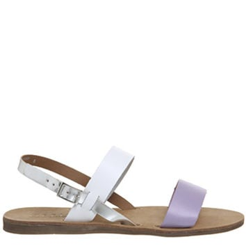 Office Honey Sling Back Sandals Lilac Leather With White Silver Mix - Sandals