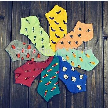 Spring summer fashion casual women socks cartoon Harajuku style fruit  vegetable print socks girl Low cut  socks  slipper socks