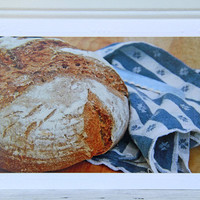 Bread Photo Greeting Card, Kitchen Still Life, Fine Art Photography, Thanksgiving Blessings, Notecard for Bread Bakers and Food Lovers