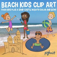Beach Kids Clipart | Summer Vacation Clip Art | Sand Castle, Beach Ball, Swim