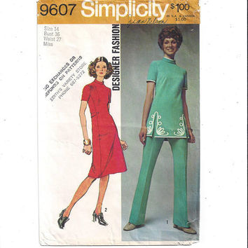 Simplicity 9607 Pattern for Misses Dress, Tunic, Pants, Designer Fashion, Sz 14, From 1971, Vintage Pattern, Home Sew Pattern, 1971 Fashion