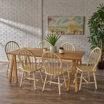 Amy Farmhouse Cottage 7 Piece Faux Wood Dining Set with Rubberwood Chairs