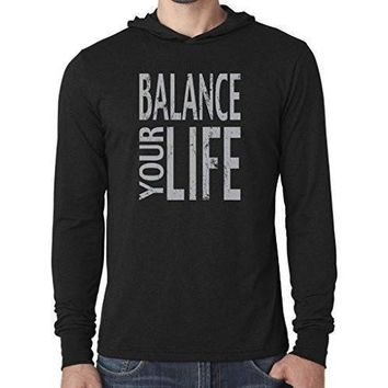 "Yoga Clothing for You Mens ""Balance"" Lightweight Thin Hoodie Tee Shirt"