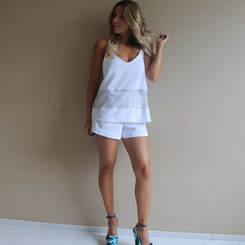 Two piece white top and shorts set, top and shorts set, top and shorts, white dress, white shorts set, color block dress, V neck dress.