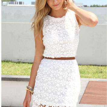 Sleevless Lace Bodycon Two Piece Dress