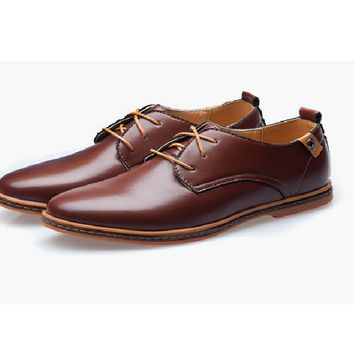 Men Spring Autumn Casual Leather Lace-Up Dress Shoes