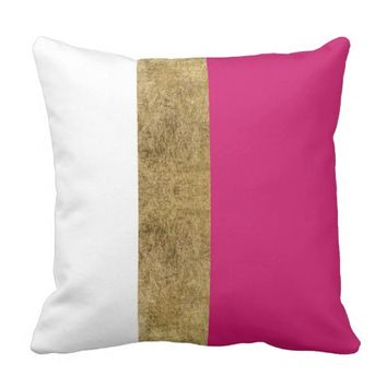 Girly Simple Gold Pink and White Color Blocks Throw Pillow