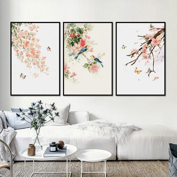 Nordic Simple Flower Butterfly 3 Pieces Decorative Painting Modular Picture Wall Art Canvas Painting for Living Room No Framed