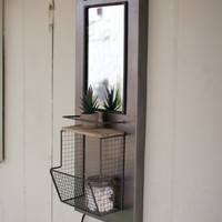 METAL MARQUEE MIRROR WITH SHELF AND WIRE BASKET