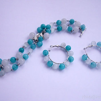 Amazonite jewelry - Amazonite bracelet - Turquoise hoop earrings and bracelet, beaded hoops, beaded bracelet