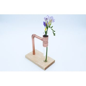 Flower Vase Glass Copper Wood -- Modern Minimal -- Minimalist Metal Wooden Plant Centerpiece