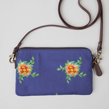 exotic flowers blue bag