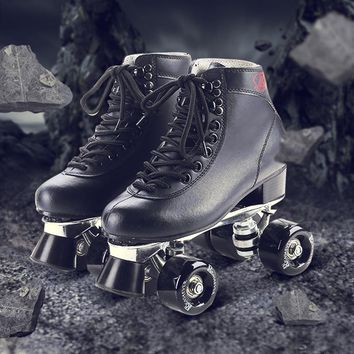 Reniaever roller skates, double leather  skating shoe, men's adult double row, 4 polyurethane wheels, aluminum alloy metal base