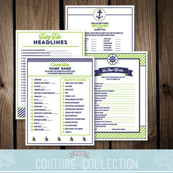 Baby Shower GAME PACKAGE of 4 games - Set 1 - Baby on Board Nautical Preppy Boy Baby Shower Navy and Green Printable DIY Instant Download