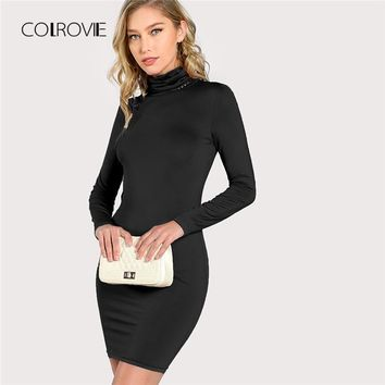 COLROVIE Black Solid Casual Turtleneck Office Sexy Dress Women Long Sleeve Elegant Party Dress Bodycon Short Dresses