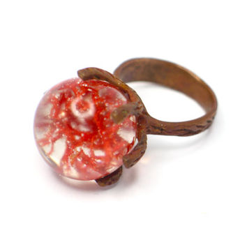 Resin ring. Copper ring. Red moss preserved, Resin jewelry. Modern jewelry botanical OOAK, contemporary , clear ring