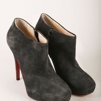 CREYU2C Grey Suede Leather Platform Heeled Ankle Booties