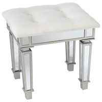 Alexandria Mirrored Stool, Silver, Foot Stools