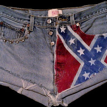 Rebel flag vintage denim shorts with silver studs. Free Shipping to U.S. & Canada