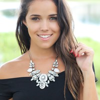 Bronze and White Crystal Necklace
