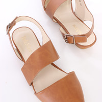 Tan Slingback Pointed Flats Faux Leather