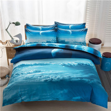 3d Galaxy Duvet Cover Set Single double Twin/Queen 2pcs/3pcs/4pcs bedding sets Universe Outer Space Themed Bed Linen Bed Sheet