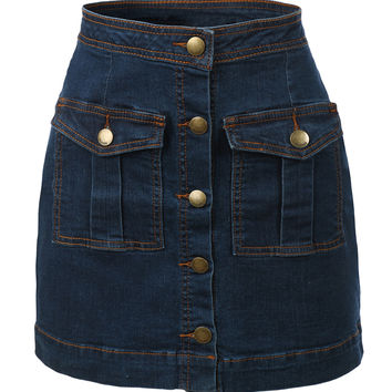 LE3NO Womens Vintage Denim A-Line Button Down Mini Skirt (CLEARANCE)