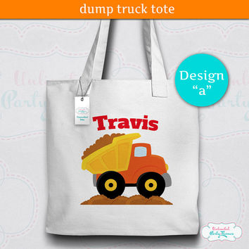 Construction Tote Bag / Dump Truck Tote / Constuction Canvas Tote / Personalized Tote Bag
