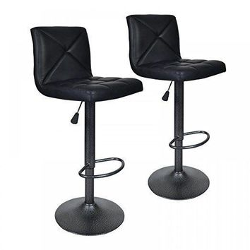 2 PU Leather Modern Adjustable Swivel Barstools Hydraulic Chair Bar Stools BT10