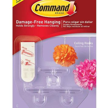 Command™ 17803-ES Party Ceiling Hooks, Small, Clear, 3-Hooks & 4-Strips