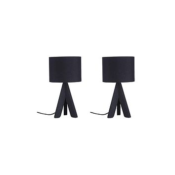 Euro Style Collection Askos Wood Legs and Fabric Shade Mini Tripod Table Lamp 2 Piece Bundle