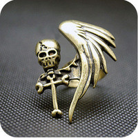 Europe fashion Vintage Punk One Wing cross&human skeleton Cute ring 1pcs