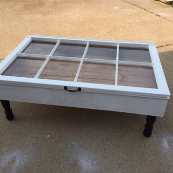window shadow box coffee table, rustic window furniture, coffee table with storage, shabby chic coffee table, rustic coffee table, wood