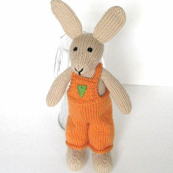 "Tall Hand Knit Bunny Rabbit Doll - Baby Easter Toy Knit Animal Stuffed Toy Bunny Nursery - Stuffed Animal Easter Bunny Doll 15 1/2"" Tall"