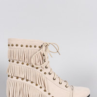 Suede Studded Fringe Lace Up Hidden Wedge Booties