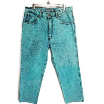 80's Vintage High Waisted Jordache Jeans Teal Acid Wash Unique Color