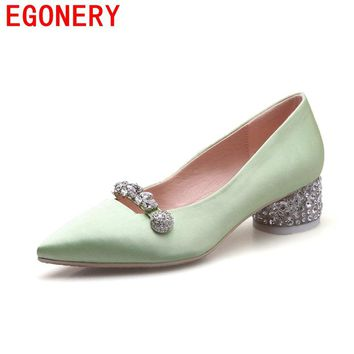 EGONERY 2017 princess pumps silk breathable soft pointed toe crystal decoration appointment skid resistance spring women shoes