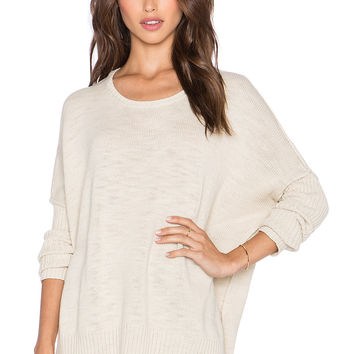 Michael Stars Wide Neck Rib Sleeve Sweater in Parchment