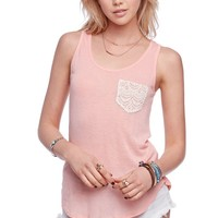 LA Hearts Crochet Pocket Tank - Womens Tees - Peach -