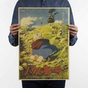 Retro posters Hayao Miyazaki - Howl's Moving Castle / Classic Cartoon Poster vintage wall stickers 51x35.5cm