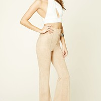 Faux Suede Flared Pants
